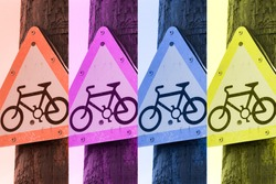 A colourful pop art poster for bicycle lovers made from a photo of a cycle sign
