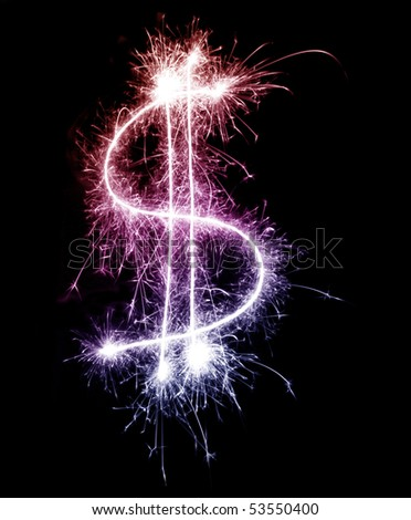 a colourful sparkling dollar symbol in red purple and pink