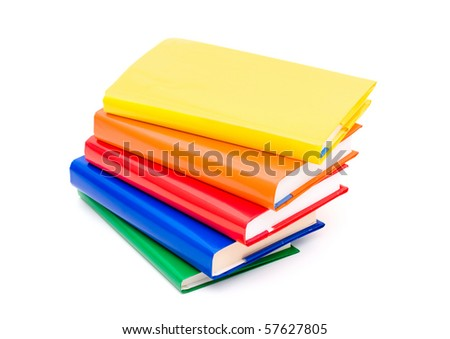 A colourful stack of books isolated on a white background, reading books - stock photo