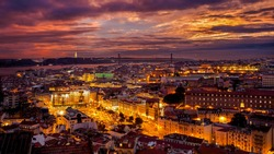 A colourful sunset in Lisbon