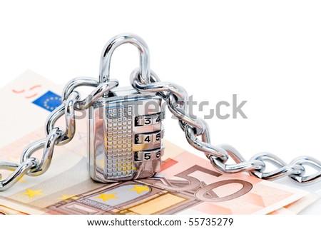 A combination lock with shiny, chrome chains with Euro money.  White background