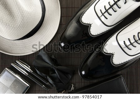 A combination of a man\'s accessories for an elegant evening, mafia shoes
