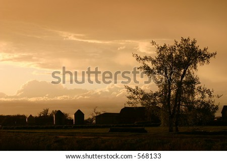 A combination of near sunset light with the end of a summer storm produced the unusual lighting of this farm scene.