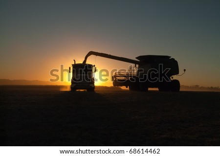a combine dumps soybeans into a semi tractor-trailer at sundown