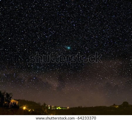 A comet in a night time scene. The Christmas star?