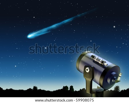 A comet traveling through earth's atmosphere. Digital illustration.
