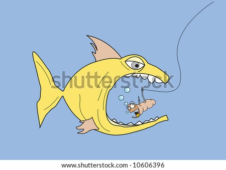 A comic illustration of a large fish eating a horrified worm on a fishing hook
