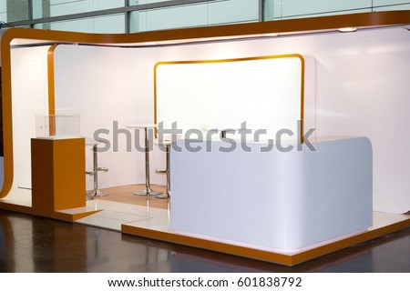 A commercial stand in an exhibition hall or a large professional salon ready to receive brands and advertisements #601838792