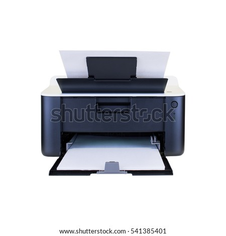 A compact home office desktop laser printer in use, from a front centered view on a white background.