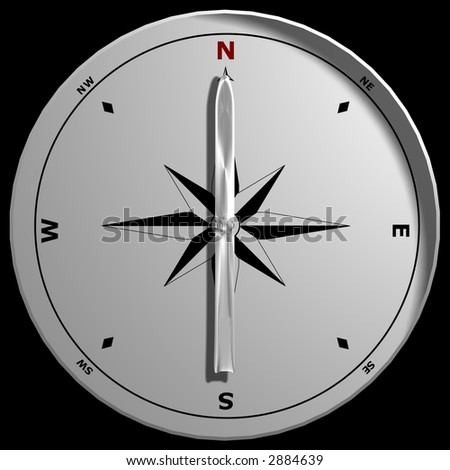 A compass pointing North, isolated on a black background.