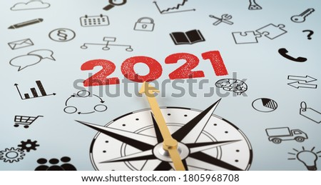 A compass with text and icons - 2021