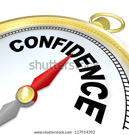 A compass with the word Confidence leads you to success by finding your inner strength needed to direct you to reaching your goals in life