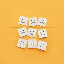 A competition between joy and sadness. The victory of a positive life attitude over a negative one