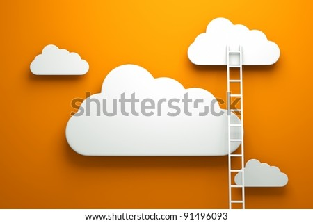 a competition concept, clouds with ladders on orange