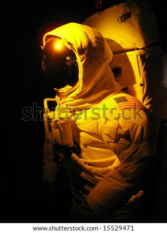 A complete astronaut setup under dramatic lighting.