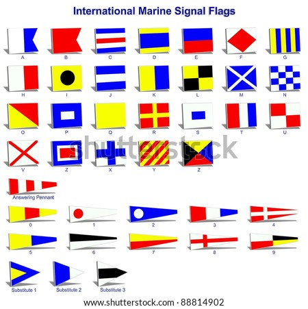 A complete set of international naval signal flags / International marine signal flags