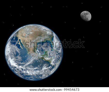 A composite image of the moon and earth with stars. Elements of this image furnished by NASA. #99454673
