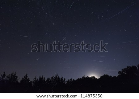 A composite of several 2012 Perseid meteors taken in Oklahoma