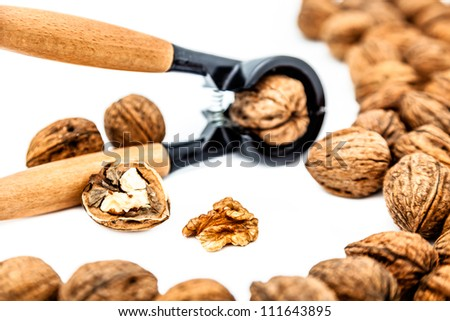 A composition of walnuts, cracked walnuts and a nutcraker