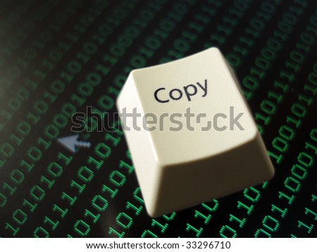 a computer copy on a background on binary code