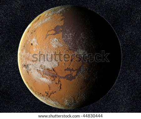 A computer graphic rendering of Mars with water