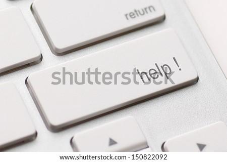 A computer Help Key. White keyboard