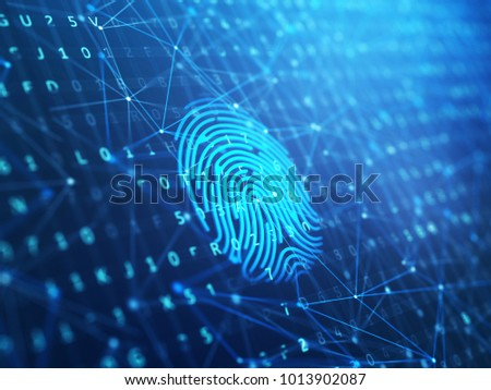 A computer identify and measuring the bright fingerprint on the digital surface. 3d illustration