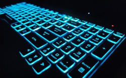 A computer keyboard is an input device that allows a person to enter letters, numbers, and other symbols  keyboard with blue back-light