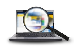 A computer laptop is isolated on a  white background with a magnifying glass searching the internet.