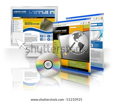 A computer monitor screen with an internet template and CD on a white isolated background. Two other web sites are on the side. Perfect for a technology program concept.