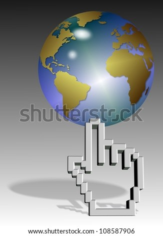 a computer mouse hand pointer cursor holding earth globe / World on cursor
