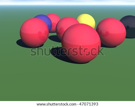 A computer rendering set of snooker balls on the baize