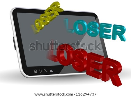 A computer tablet and words spelling loser coming out of it / Internet bullying