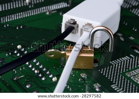 A concept about the secure line being opened, illustrated by the unlocked padlock of the line above the circuit board.