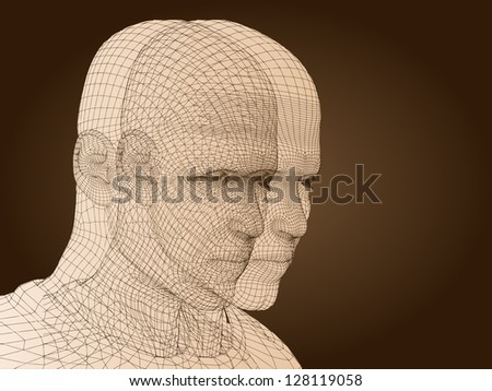 A concept conceptual 3D wireframe human male head isolated on brown background as metaphor for technology,cyborg,digital,virtual,avatar,science,fiction,future,mesh,vintage or abstract design
