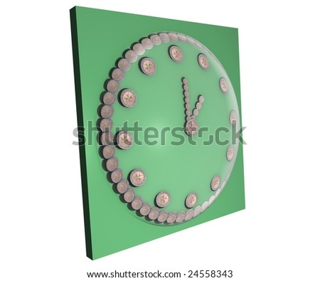 a concept illustration for the saying time is money, where a clock made from 2 euro coins displays the time