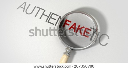A concept image of a magnifying glass with a wooden handle on a textured white surface showing the word authentic but magnifying the word fake resembling counterfeiting