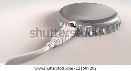A concept of an ethernet cable plugged into a bottle cap showing that the connection has been capped on an isolated background