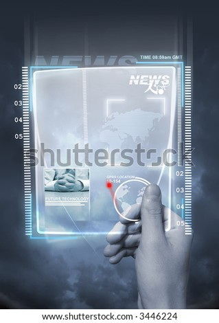 A concept of future technology with a man holding a electronic newspaper.