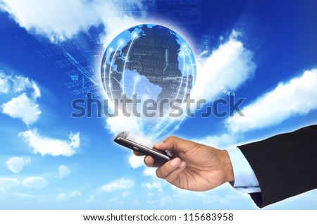 A concept of how a smart phone can connect a businessman to a worldwide information network.