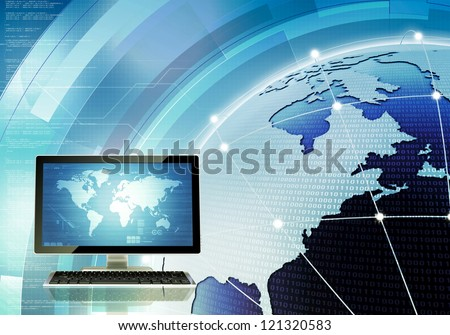 A concept of how computer connected and communicate around the world through internet and server. You can change the screen on main computer to suit your needs.