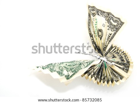 A concept of successful butterfly: in money origami