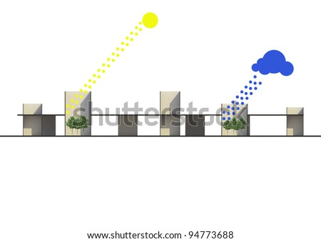 A concept of weather related with architecture. graphic of sun and raining with modern architecture.