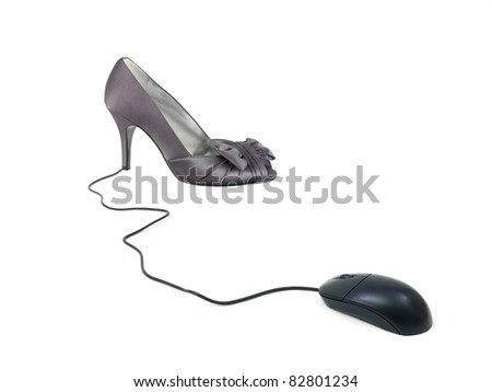 A conceptual ecommerce image of a shoe and a computer mouse