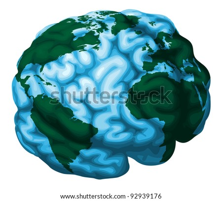 A conceptual illustration of a world globe in the shape of a human brain