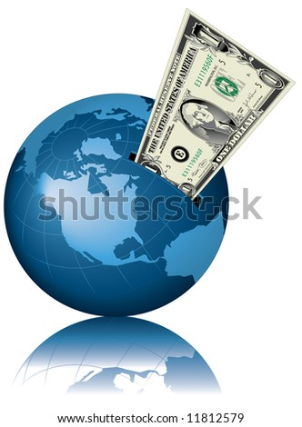 A conceptual illustration of the globe as a giant money box with a dollar bill in the slot.