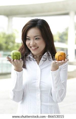 A conceptual image about choice. The Asian woman holding an apple and orange.