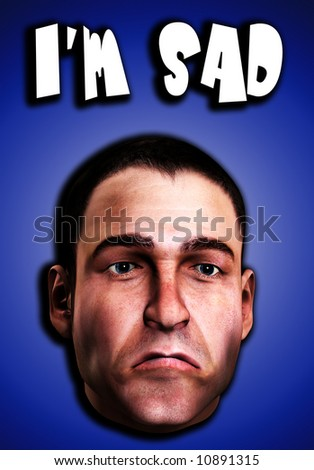 A conceptual image of a mans face, that is very sad.