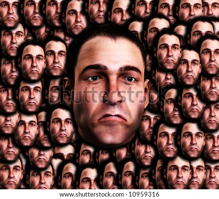 A conceptual image of a set of mens face, that are very sad.