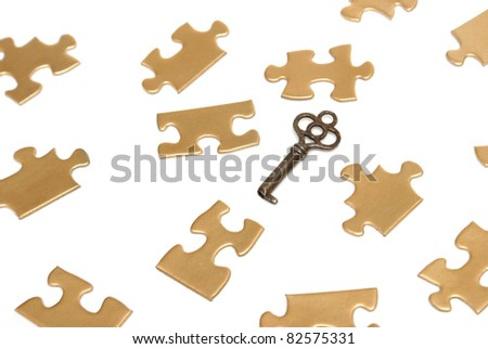 A conceptual image of golden puzzle pieces and an old skeleton key.